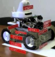 Rys. 4. Wizualizacja informacji o komponentach robota mobilnego na rzeczywistym robocie