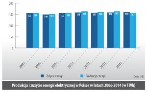 Produkcja i zuzycie energii elektrycznej w Polsce w latach 2006-2014 (w TWh)