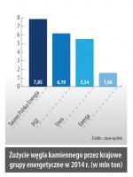 Zużycie węgla kamiennego przez krajowe grupy energetyczne w 2014 r. (w mln ton)