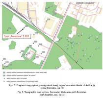 Rys. 5. Fragment mapy sytuacyjno-wysokościowej, rejon Sosnowiec-Niwka z lokalizacją szybu Bronisław, wg [2]