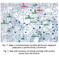 Rys. 7. Mapa z inwentaryzacją wyrobisk górniczych mających połączenia z powierzchnią z Archiwum