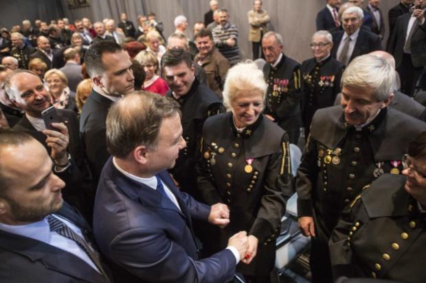 Prezydent Andrzej Duda u górników z Solidarności w Tauronie