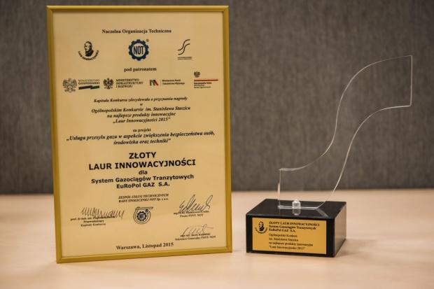 Złoty Laur Innowacyjności 2015 dla EuRoPol GAZ s.a.