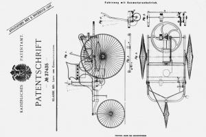 """Akt urodzenia samochodu nosi oznaczenie DRP 37435 - to patent na """"pojazd z napędem spalinowym"""", złożony przez inżyniera Carla Benza 29 stycznia 1886 r. w Niemieckim Urzędzie Patentowym w Berlinie. fot. Daimler"""