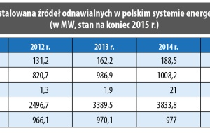 Moc zainstalowana źródeł odnawialnych w polskim systemie energetycznym (w MW, stan na koniec 2015 r.)