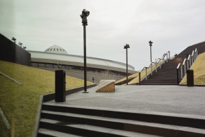 MCK Katowice, widok z dachu na Spodek.