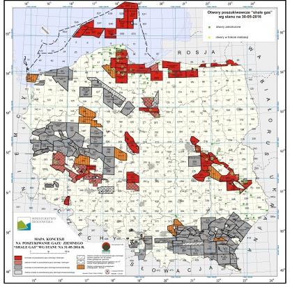 Mapa otworów za gazem z łupków. Fot. Ministerstwo Środowiska