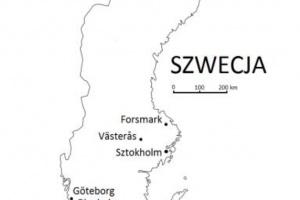 Rysunek 3. Rozmieszczenie szwedzkich elektrowni jądrowych (Forsmark, Oskarshamn i Ringhals) i fabryki paliwa jądrowego (Västerås).