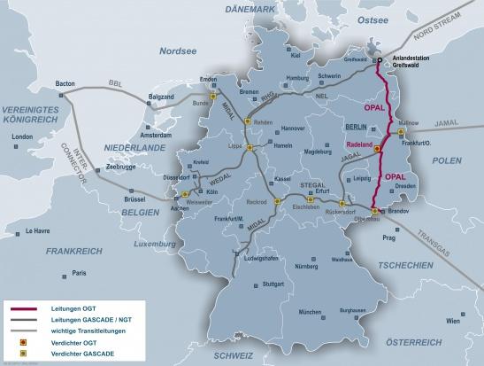 Gazociąg OPAL Źródło: OPAL Gastransport GmbH & Co. KG, mat. pras.