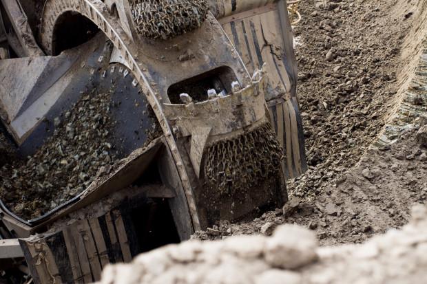 Protest na terenie niemieckiej kopalni