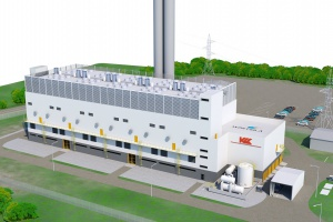 Wizualizacja nowej elektrociepłowni Kraftwerke Mainz-Wiesbaden AG. Instalacja o mocy elektrycznej 100 MW i ciepłowniczej 96 MW wyposażona będzie w dziesięć silników tłokowych typu Wärtsilä 20V34SG zdolnych do rozruchu do pełnej mocy w ciągu 2 minut. Przekazanie do eksploatacji planowane jest na koniec roku 2018 (rys. Wärtsilä).