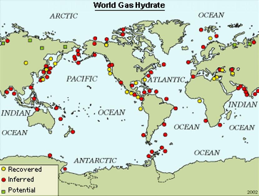Potwierdzone, przewidywane i potencjalne złoża hydratów gazowych na świecie. Źródło: USGS