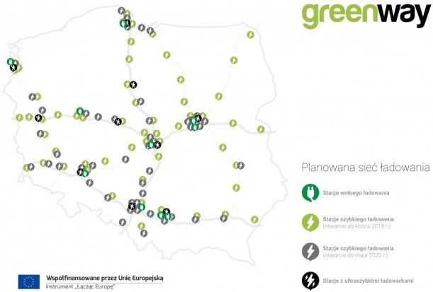 Planowana sieć ładowarek Greenway Infrastructure Poland Źródło: mat. pras.