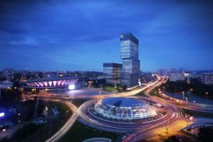 Wiecha na budowie kompleksu wieżowców w Katowicach