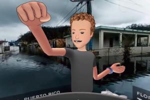 Animowany prezes Facebooka na tle zniszczeń Portoryko