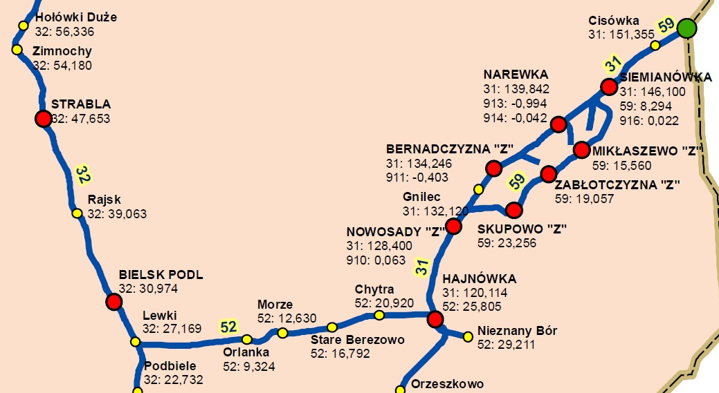 Linia nr 59 na mapie sieci kolejowej. fot. PKP PLK