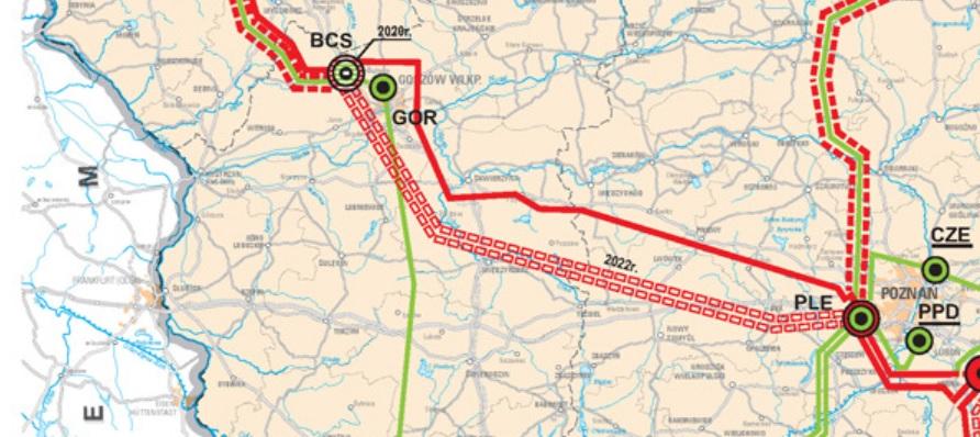 Planowana linia 400 kV Baczyna - Plewiska (podwójna biało-czerwona przerywana linia). fot. PSE