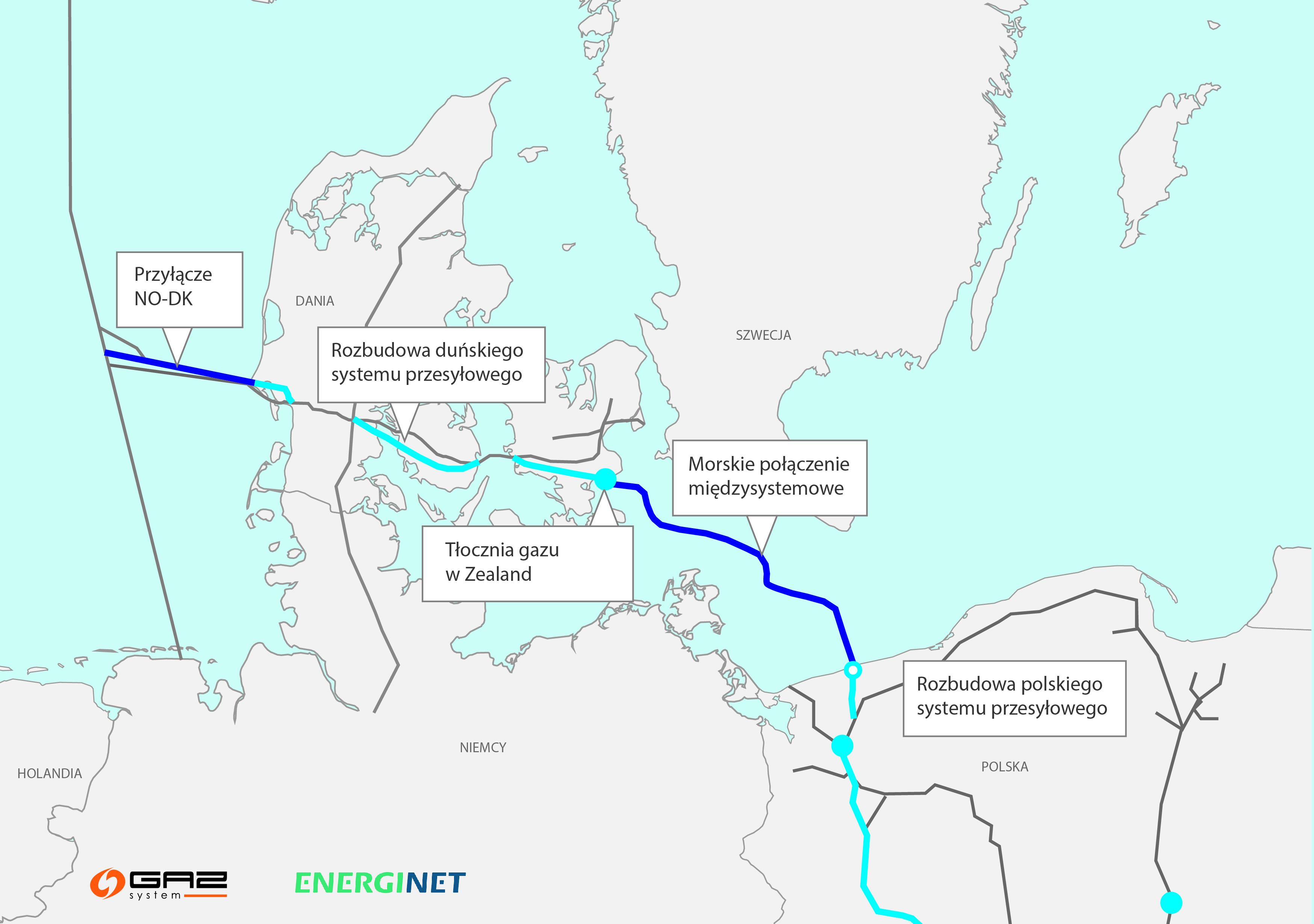 Planowany przebieg gazociągu Baltic Pipe (źródło: Gaz-System, mat. pras.)