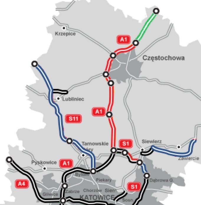 Ostatni odcinek A1 do budowy w woj. śląskim (na zielono). fot. GDDKiA