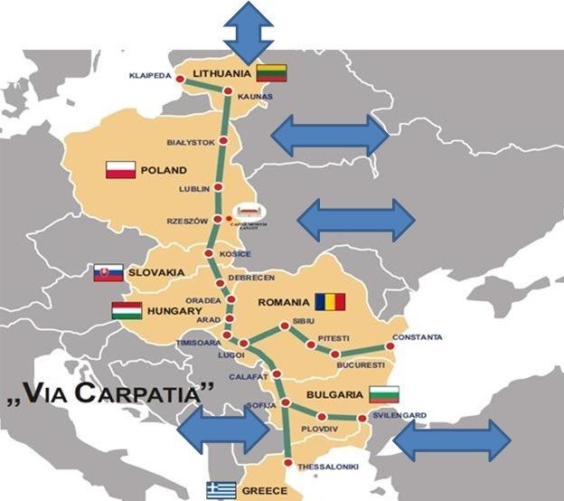 Planowany przebieg Via Carpatia (źródło: Ministerstwo Infrastruktury)