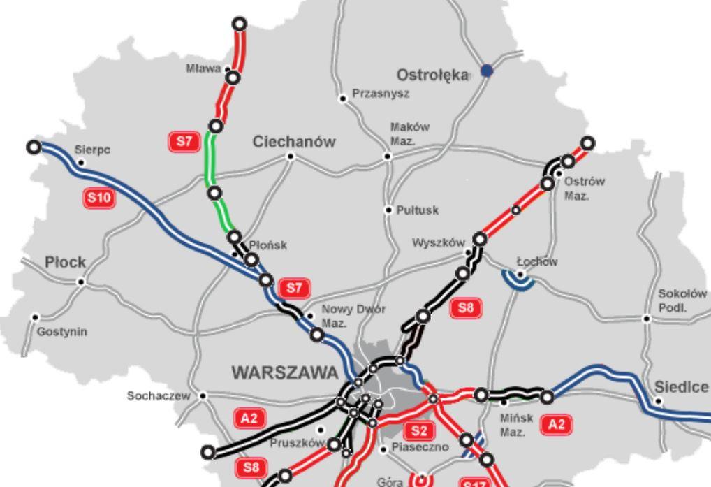 Planowane odcinki drogi S7 Strzegowo - Pieńki i Pieński - Płońsk.