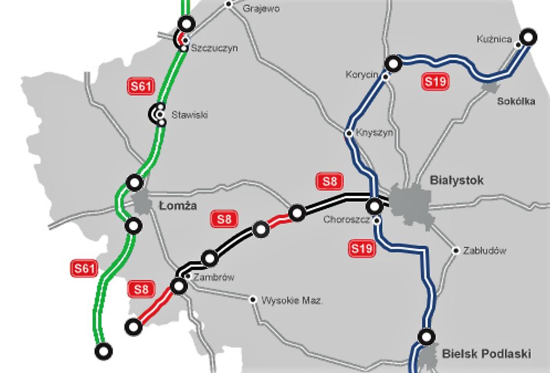 Planowana droga ekspresowa S61 na terenie woj. podlaskiego. fot. GDDKiA