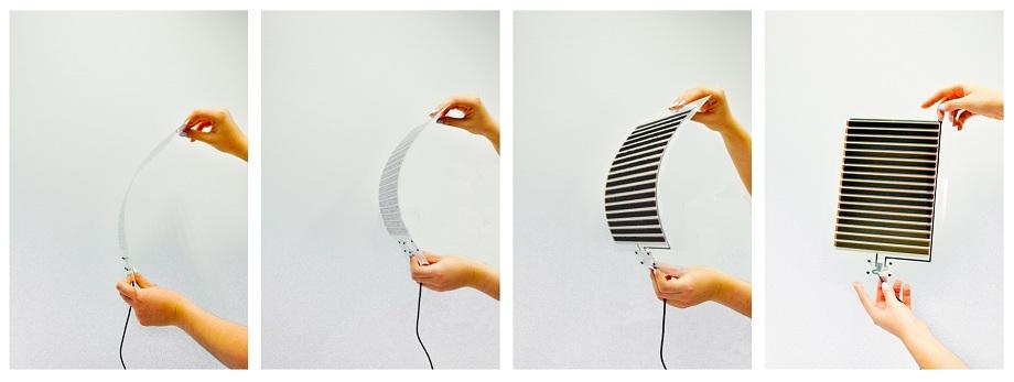 Elastyczny, perowskitowy moduł fotowoltaiczny wyprodukowany z zastosowaniem druku atramentowego. Technika ta pozwala dostosować ogniwa słoneczne do różnych powierzchni. fot. Skanska