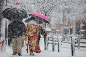 Śnieg sparaliżował komunikację w Tokio