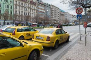 Protest taksówkarzy w Pradze