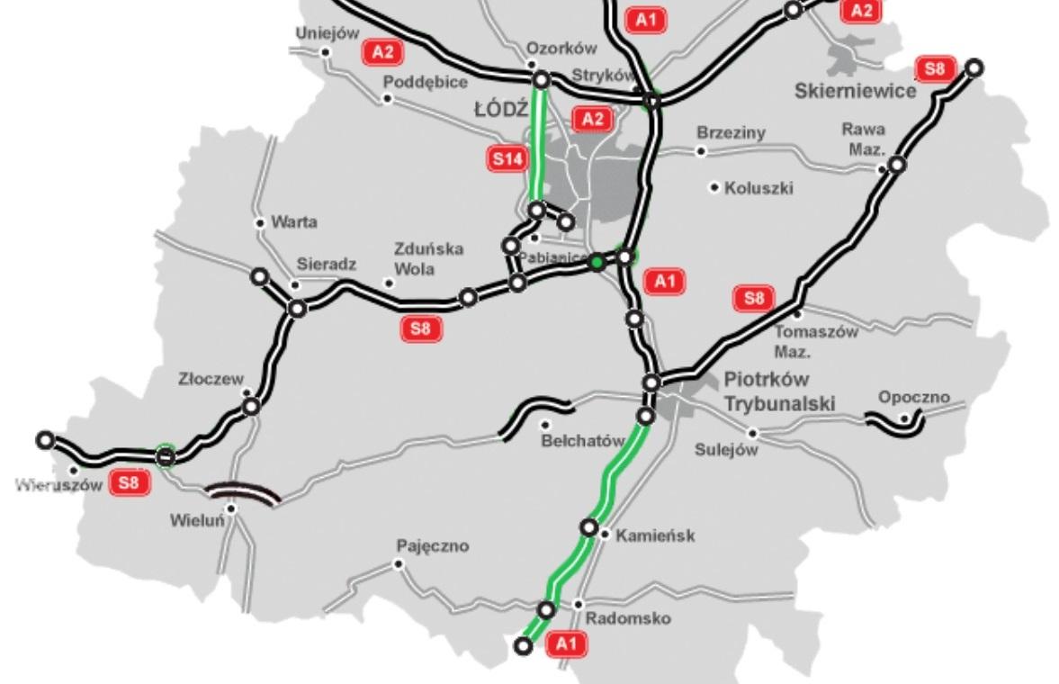Planowana trasa A1 w woj. łódzkim. fot. GDDKiA