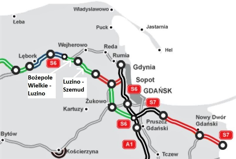 Na mapie drogi: w użytkowaniu (na czarno), w realizacji (na czerwono), w przetargu (na zielono) oraz w przygotowaniu (na niebiesko). fot. GDDKiA