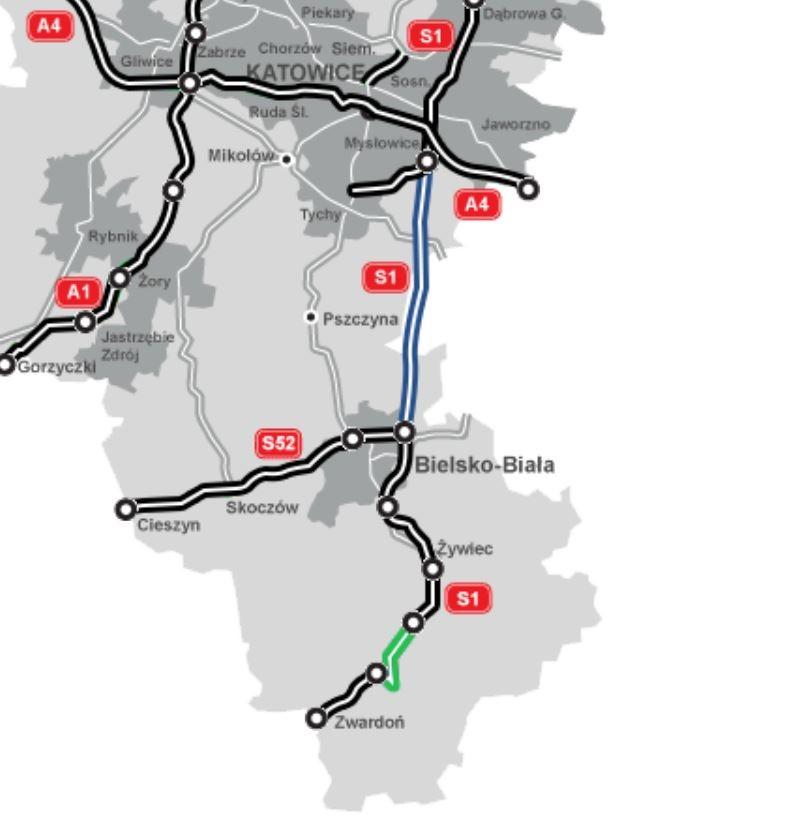 Planowany odcinek S1 (na zielono). Na niebiesko drogi w planowaniu, a na czarno w eksploatacji. fot. GDDKiA