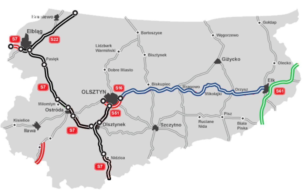 Planowana droga S61 na zielono. Na czarno drogi w użytkowaniu, czerwono w budowie, a niebiesko w planowaniu. fot. GDDKiA.