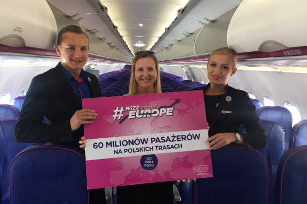 Wizz Air w Polsce przewiózł już 60 mln pasażerów