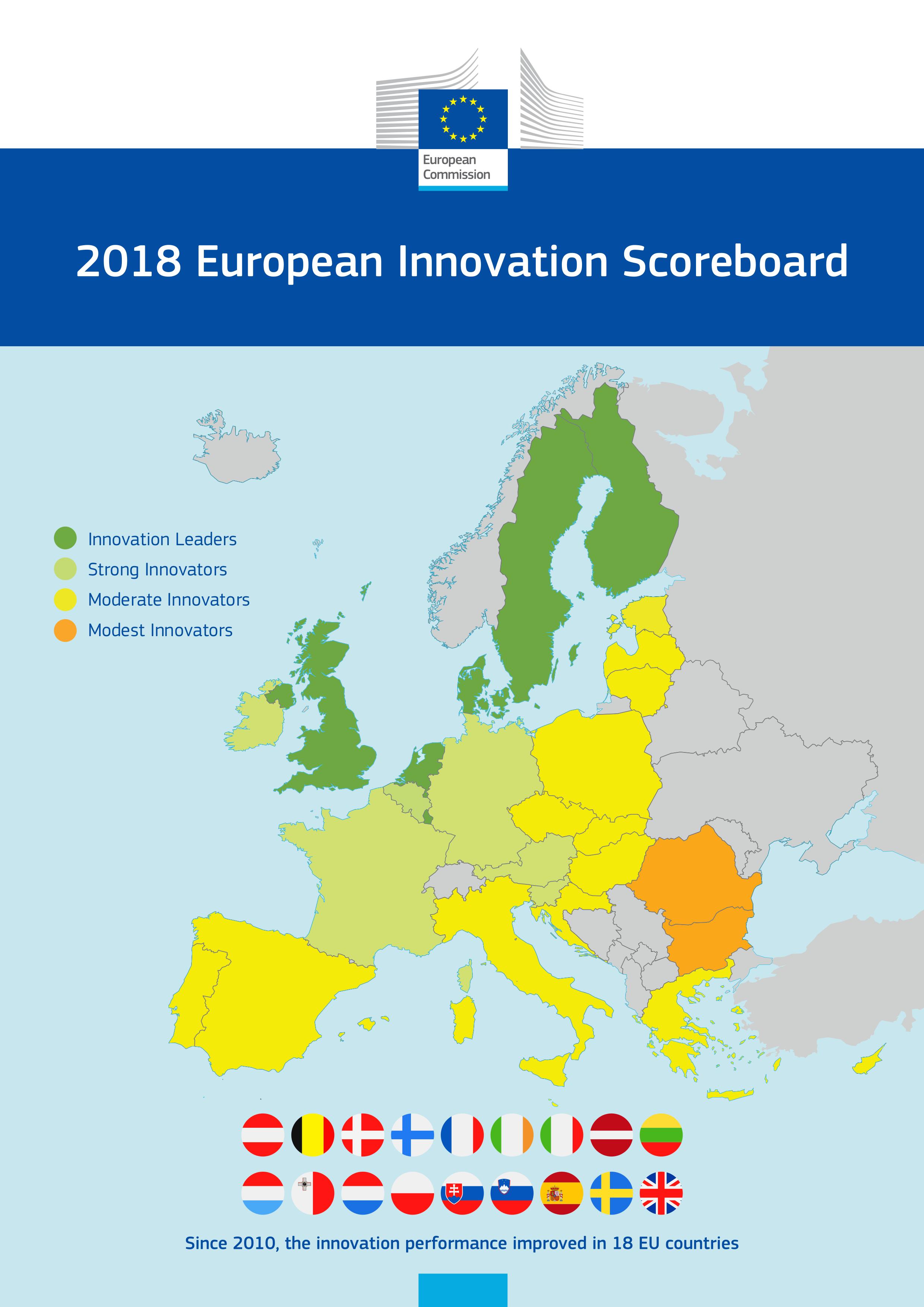 Mapa ukazuje kraje UE w omawianym zestawieniu. Kraje zaznaczone na zielono są bardzo przyjazne innowacjom, na żółto - neutralne a na pomarańczowo - mało innowacyjne. (fot. ec.europa.eu)