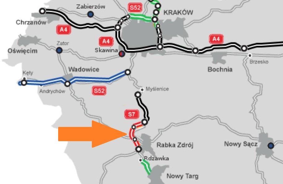 Na mapie drogi w budowie oznaczono na czerwono, w trakcie przetargu - na zielono, w planowaniu - na niebiesko i w użytkowaniu - na czarno. fot. GDDKiA