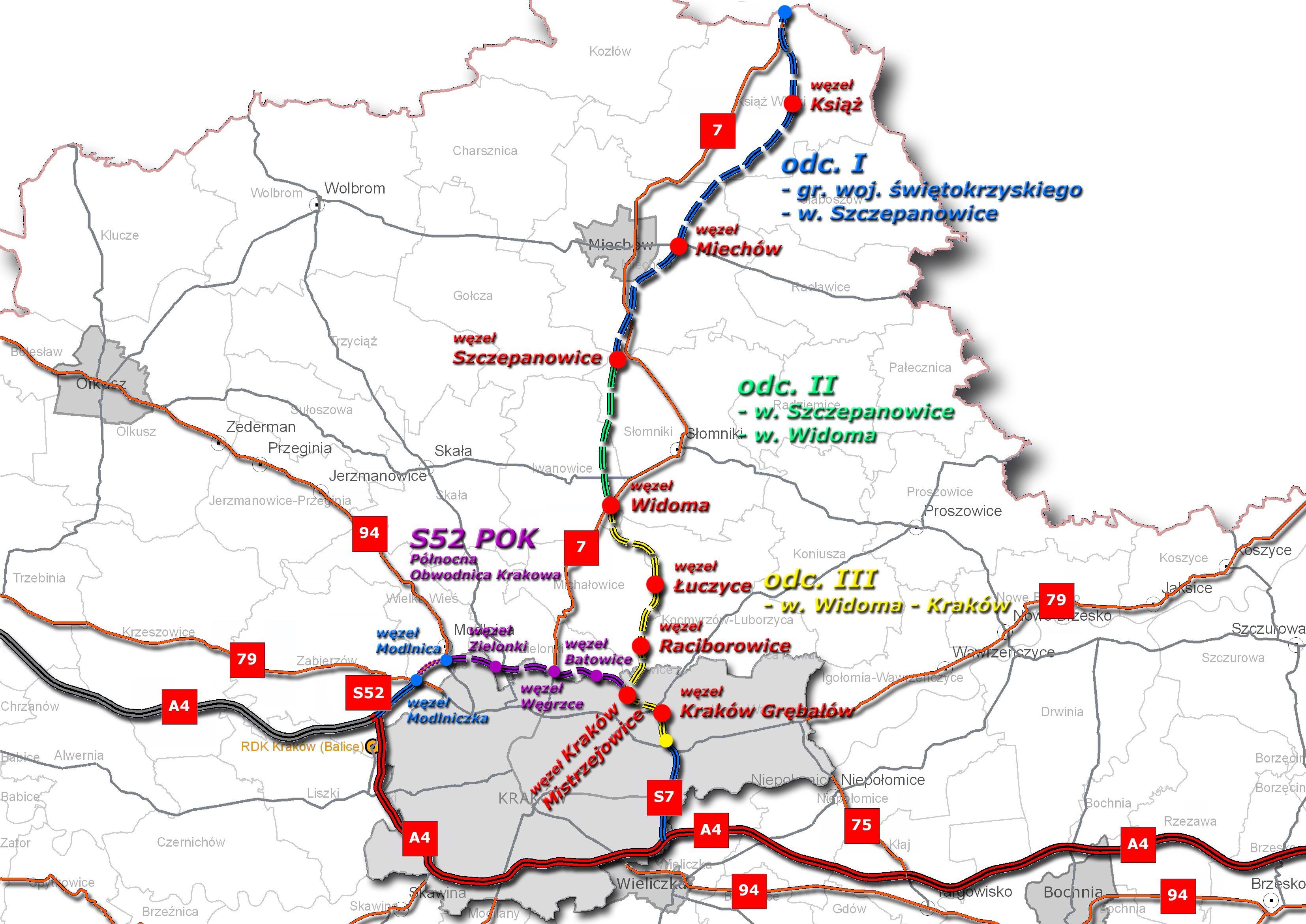 Kolorem fioletowym zaznaczono przebieg Północnej Obwodnicy Krakowa (Źródło: GDDKiA)