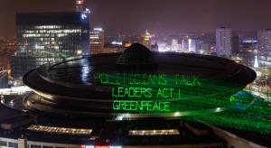 Ekolodzy wyświetlili na dachu Spodka przesłanie do uczestników COP24
