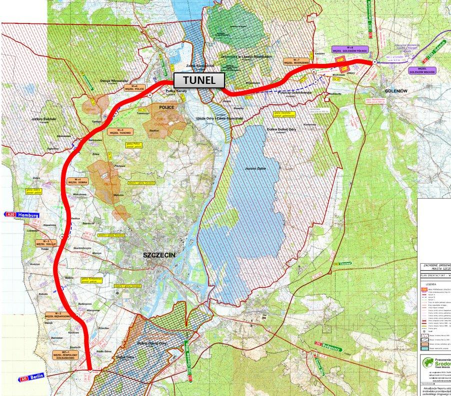 Zachodnia Obwodnica Szczecina będzie od północy i zachodu omijać aglomerację szczecińską przechodząc pod rzeką Odrą tunelem w rejonie Polic Fot. GDDKiA Szczecin