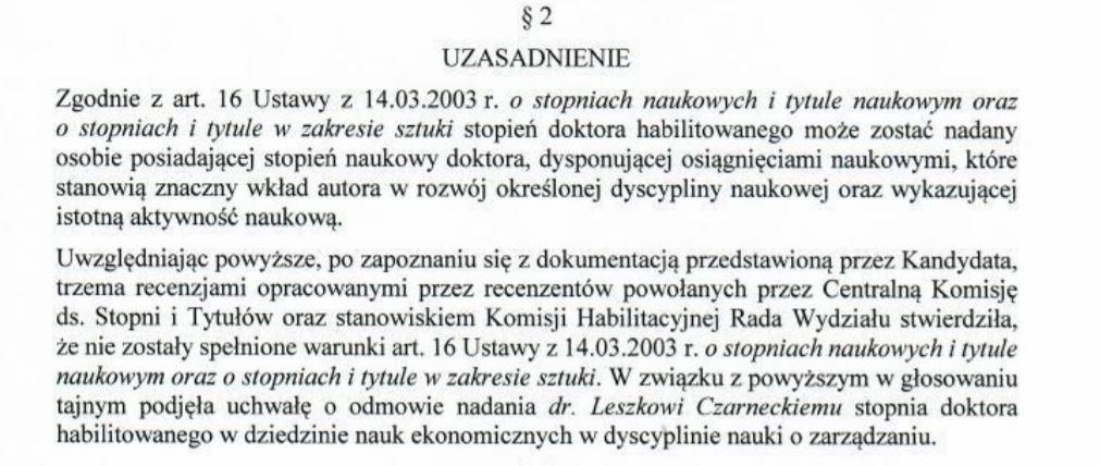 Skan z uchwały rady, paragraf drugi dotyczący uzasadnienia odmowy. Fot. mat. pras.