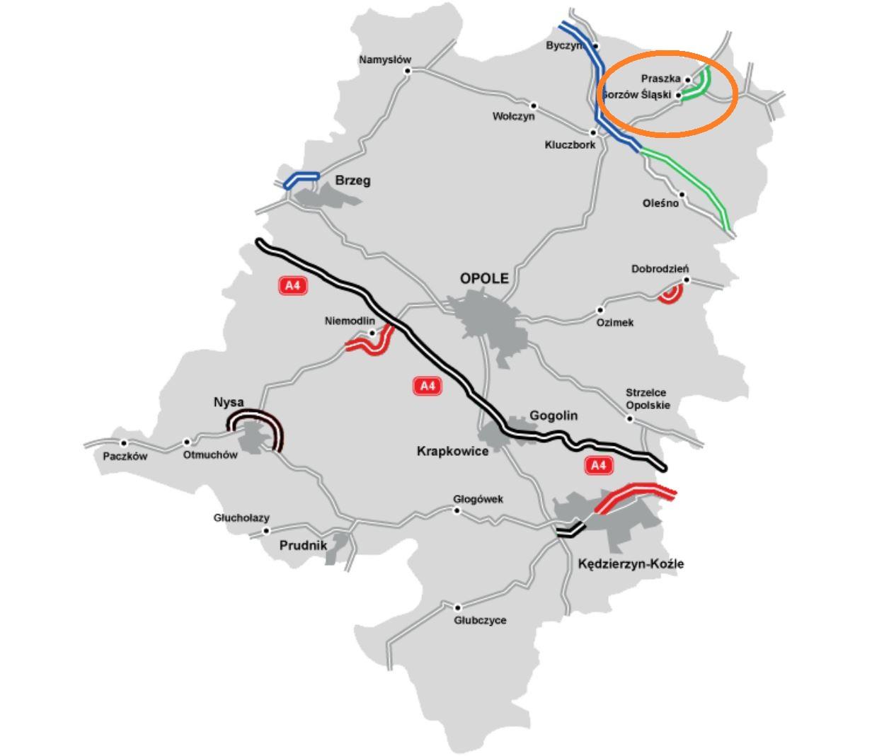 Na mapie zaznaczono drogi w użytkowaniu - na czarno, w realizacji - na czerwono, w przetargu - na zielono oraz w planowaniu - na niebiesko. fot. GDDKiA.