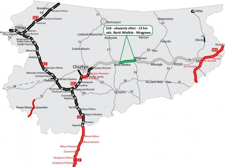Na czarno drogi w użytkowaniu, na czerwono - w realizacji, a na zielono - w przetargu. fot. GDDKiA