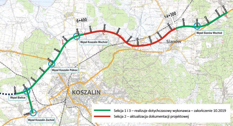 Poprawki wymaga projekt dla odcinka Węzeł Koszalin Wschód - Sianów (źródło:GDDKiA)