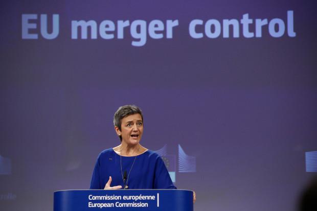 Komisarz UE ds. konkurencji Margrethe Vestager na briefingu prasowym na temat połączenia oddziałów kolejowych niemieckiego Siemensa i francuskiego konkurenta - Alstomu. Fot. Alexandros Michailidis/Shutterstock.com
