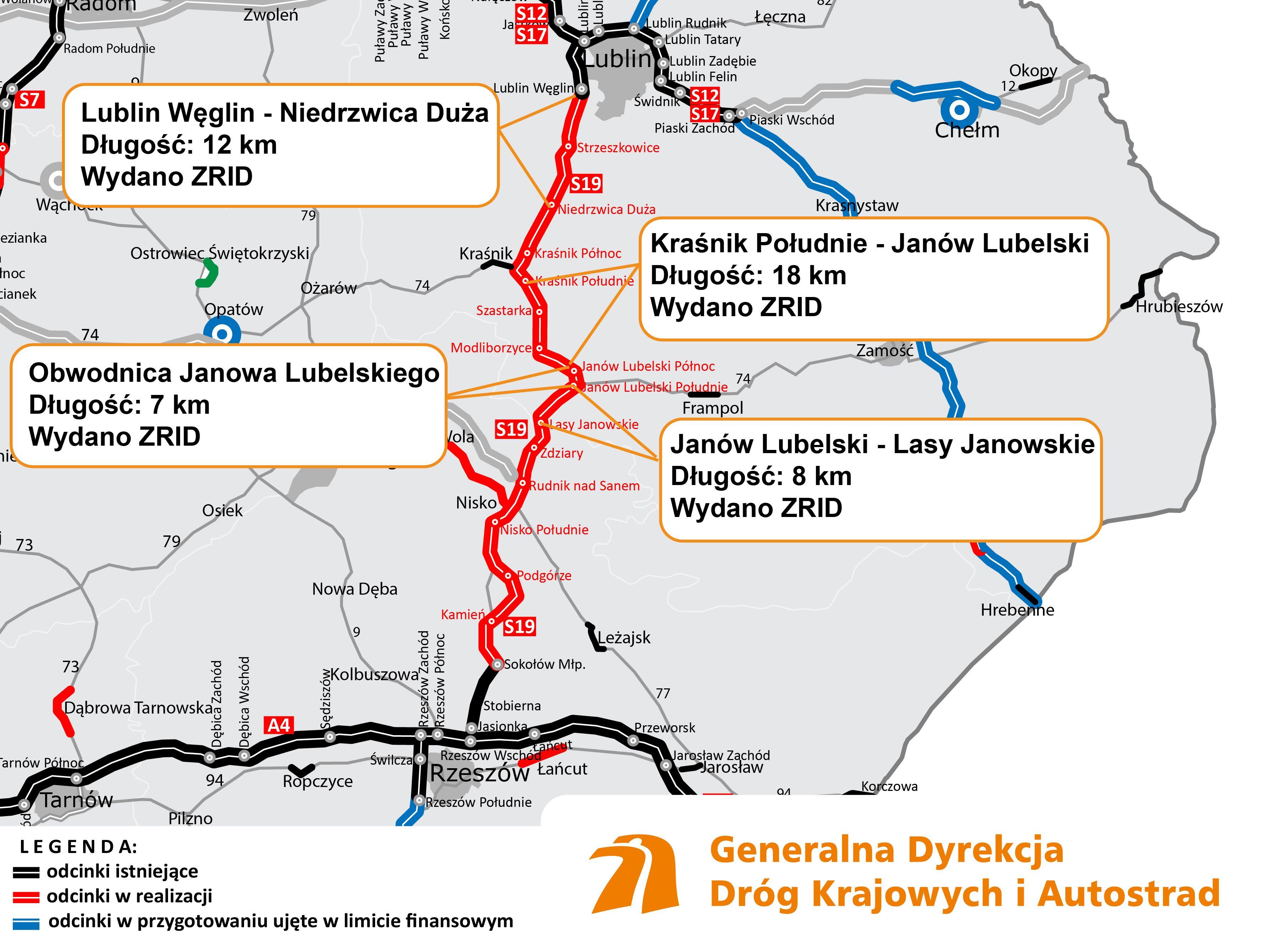 Na czerwono realizowane odcinki drogi Via Carpatia w województwach lubelskim i podkarpackim (źródło: GDDKiA)