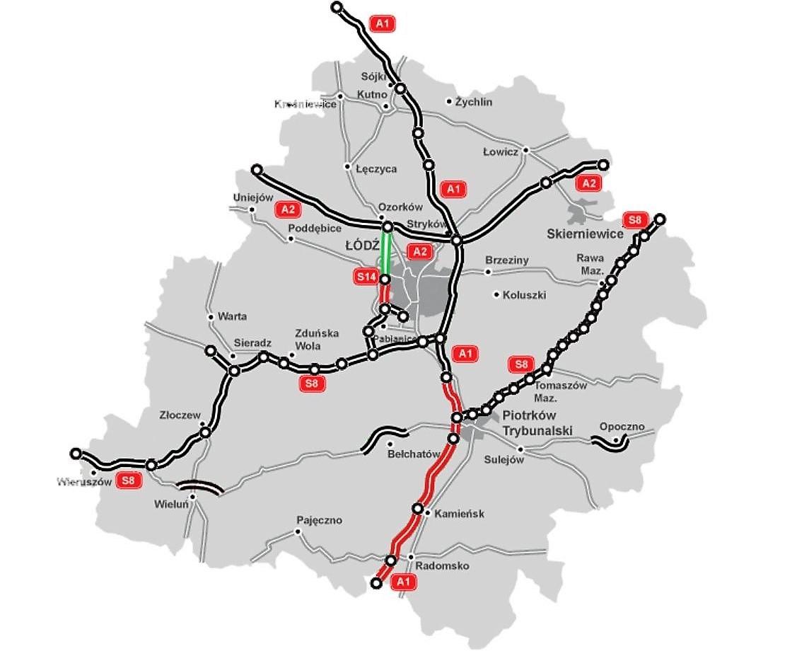 Na zielono odcinek S14, który ma wybudować Stecol. Na czarno drogi w użytkowaniu, a na czerwono w realizacji. fot. GDDKiA