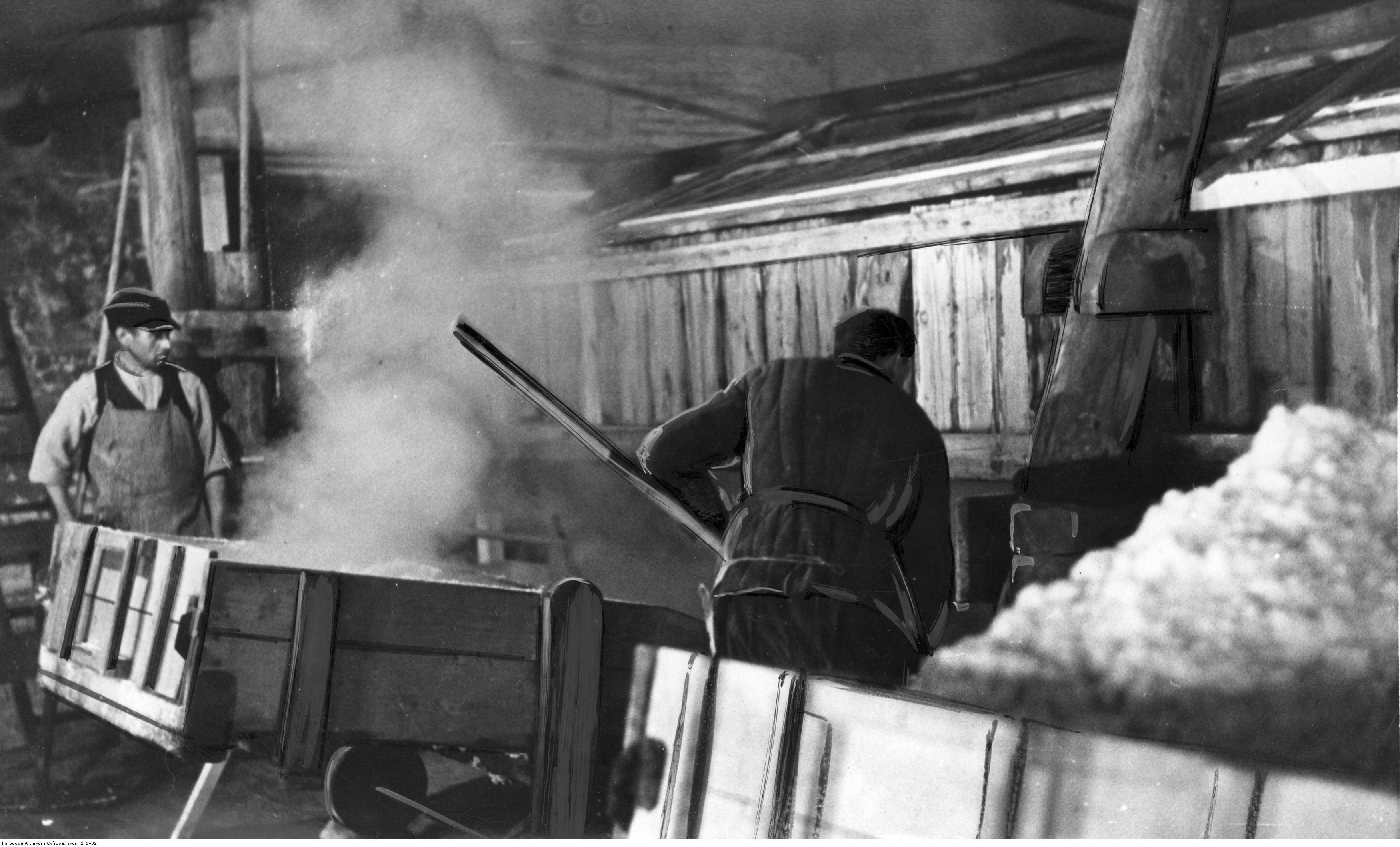 Kopalnia soli potasowych w Kałuszu. Górnicy ładują bryły soli na wagoniki, fot. Narodowe Archiwum Cyfrowe