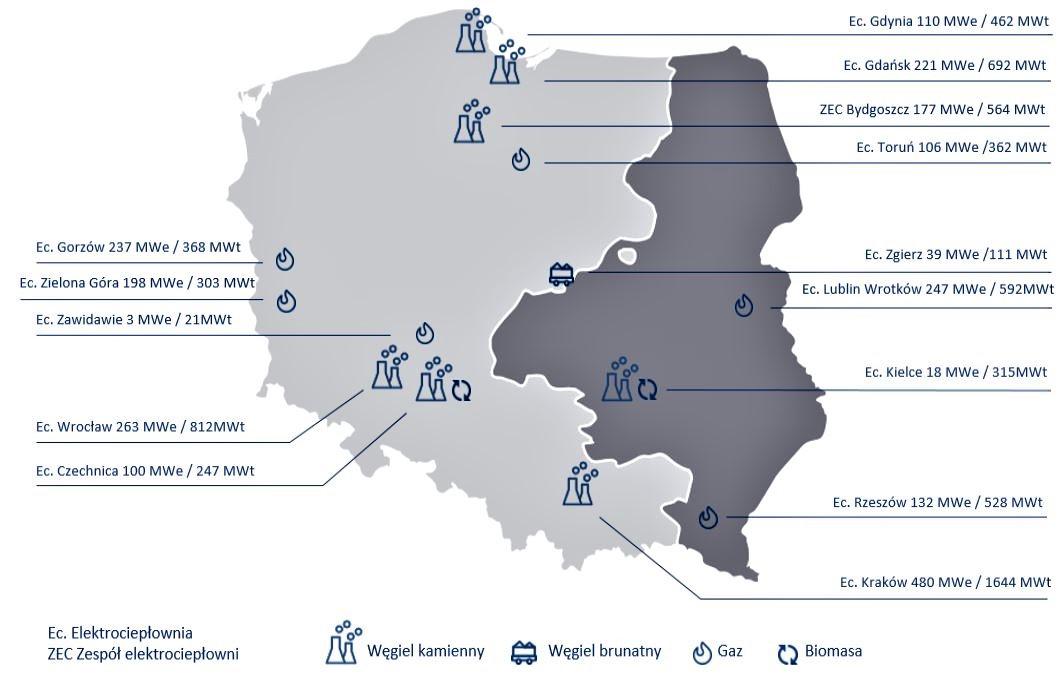 Aktywa ciepłownicze grupy PGE. Na ciemno obszar sieci dystrybucyjnej PGE. Fot. mat. pras.