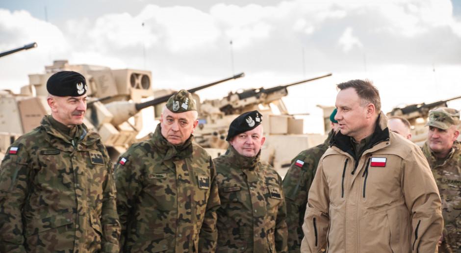 Prezydent spotkał się z polskimi i amerykańskimi żołnierzami biorącymi udział w Defender-Europe 20, fot. MON
